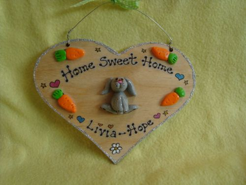 3d Bunny Rabbit /Guinea Pig Heart Hutch Run Room Home Sweet Home House Cage Personalised Plaque Sign Any Colour Pet